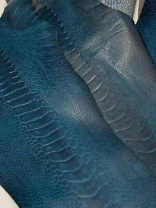 Ostrich Legs Leather French Blue GL - G.A Color  (%100 Genuine Ostrich Leather)