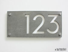 Modern House Numbers, Concrete & White Acrylic  - Sign Plaque - Door Number