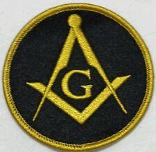Freemason Masonic Iron on Patch Gold and Black round.