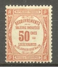 "FRANCE STAMP TIMBRE TAXE N° 47 "" 50c ROUGE 1909 "" NEUF x TB"