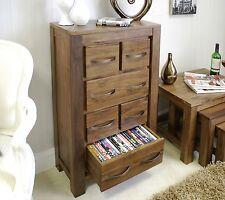 Mayan solid dark wood walnut home furniture CD DVD storage chest cabinet