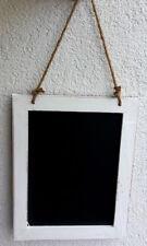 Tafel Kreidetafel Shabby Design 31x40 cm Weiss / Schwarz Sisalband