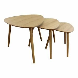 Set Of 3 Wooden Finish Oval Nesting Tables Small Modern Side End Coffee Table