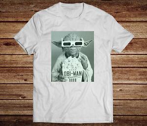 Yoda Cinema Funny White Mens T-shirt. Novelty Gift.