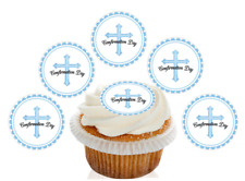 12 Pre Cut Blue Holy Confirmation Day Edible Cupcake Decorations Toppers