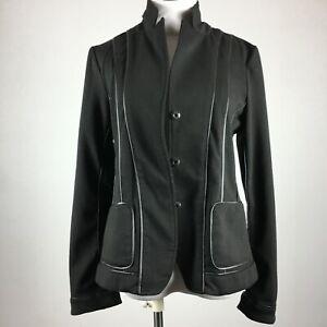 Saks Fifth Avenue Size 8 Blazer Jacket Black Stretch Snap Up Unlined Pockets