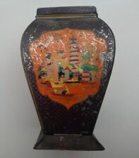 Antique vintage chinoiserie biscuit tin tea caddy cannister c1920