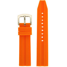 Watch Band Silicone Rubber Heavy Orange 22mm