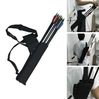 Archery Arrow Quiver Holder 3 Tube Back Waist Shoulder Strap Bag Pouch Hunting