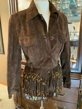 MOSCHINO Vintage Brown SUEDE LEATHER Jacket FRINGE COWGIRL AUTHENTIC