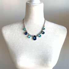 Blue Crystal Colar Opera Necklace Shourouk Style Pear Crystals