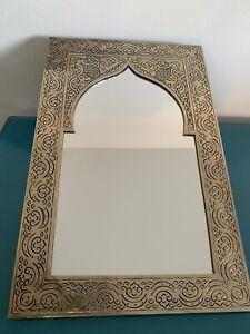 Marokkanischer Orientalischer Messing Silberner Spiegel Handarbeit -Kasim- H11