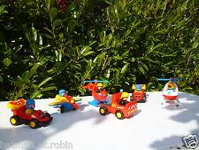 ☺ Lot Playmobil 123 Hélicoptère Pompier, Voiture De Course, Avion, Camion....