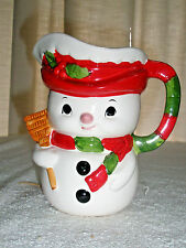 Vintage RELPO Snowman Pitcher #6446 Holly Scarf Broom