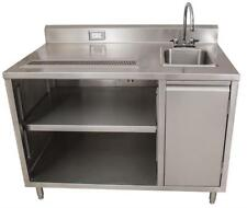 BK Resources Beverage Counter Table Sink on Right BEVT-3048R All Stainless Steel