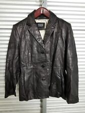 Vintage Dark Brown Leather buttoned Jacket by Wilsons Leather Pelle Studio L