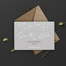 Personalised Save the Date Card CLASSIC GREY & WHITE CONFETTI packs of 10