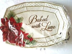 Fitz and Floyd Christmas Platter Poinsettia Santa Baked with Love Tray Plate New