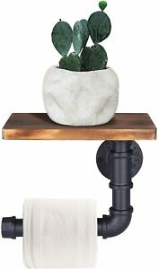 Industrial Toilet Roll Holder with Shelf - Wall Mounted Toilet Paper Holder