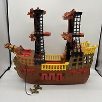 2006 Mattel Fisher Price Imaginext Adventures Pirate Ship Boat RETIRED Brown Red