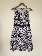 Stella Morgan Cotton Floral Lined Belted Summer Tea Dress Black White UK 12