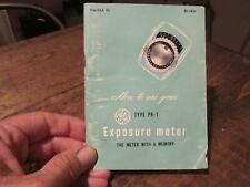 GE Exposure Meter PR-1 Manual Original 1948 Camera Book