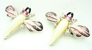 VINTAGE 1950s SCATTER PINS SET OF 2 MAYFLY INSECT PINK BLACK ENAMEL FAUX PEARL