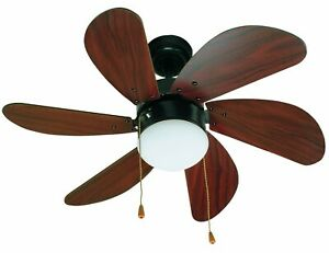 Ceiling fan with light and pull cords FARO PALAO Brown / Mahogany 81 cm 32""