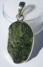 About 24.43 carats Moldavite Pendant 29x15x8mm set in solid .925 silver