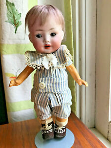 German Bisque baby PM 914 Cute 5 pc toddler body & boy outfit w orig wig