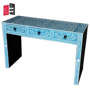 Pandora Bone Inlay Blue Floral Hall Table (MADE TO ORDER)