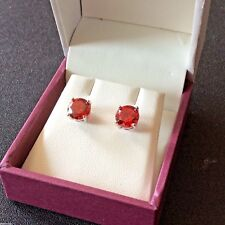 Classic round red garnet 7mm; silver/ white gold fill stud earrings BOXD Plum UK