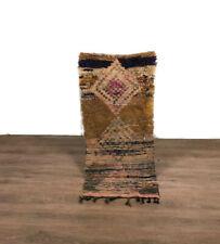 Stunning Rug Berber Carpet Handmade Area Boucherouite Wool  Runner 64'X29' inch