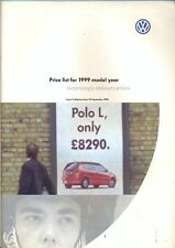 VW Polo Golf Passat Sharan UK prices + options brochure 1999 model year