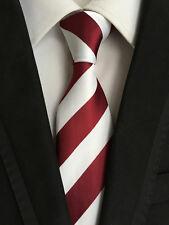 XT066 luxury mans neck tie 100% silk wedding party wine red white stripe ties