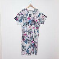Zanzea Size 3XL XXXL White Pink Floral 100% Cotton T Tee Shirt Dress