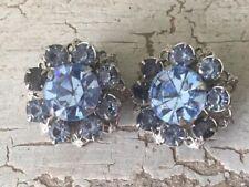 Baby Blue Rhinestone Clip On Vintage Earrings Wedding Bridal Estate  Jewelry