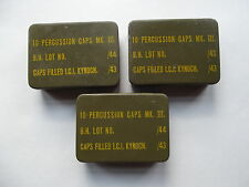 WW2 BRITISH ARMY,HOME GUARD, SPECIAL FORCES, PERCUSSION CAP TIN DATED 1943/44