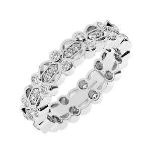 1.00 Ct Pave Set Round brilliant Cut Diamonds Full Eternity Ring in 950 Platinum