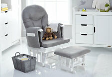 Obaby RECLINING GLIDER CHAIR AND STOOL – WHITE WITH GREY CUSHION - AUGUST OFFER