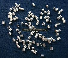 100 Sterling silver plated 2x1mm tube crimp beads finish beads to clasps fps035