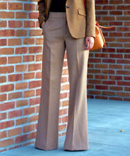 ZARA CAMEL BEIGE WIDE LEG LONG TROUSERS WOOL PANTS PALAZZO SIZE S