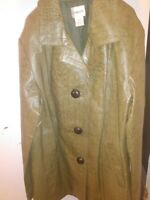 CHICO'S green snake skin leather jacket size 1 excellent condition women's Med