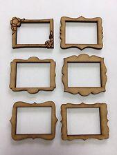 6x Photo Frames 5cm Wood Craft Embelishments Laser Cut Shape MDF