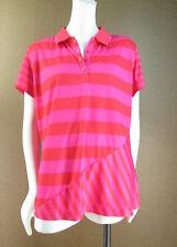 Slazenger Golf Shirt Bright Pink Orange Red Striped Top Shirt L T842
