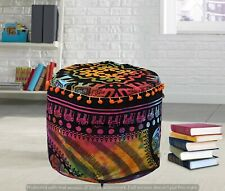Mandala Multi Elephant Moroccan Floor Cover Indian Round Poufs Decor Footstools