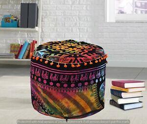 Mandala Multi Elephant Moroccan Floor Cover Indian Round Poufs Decor Footstools