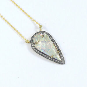 "Natural Opal Rose Cut Pave Diamond Vintage Necklace 925 Silver Jewelry 16"" VN123"