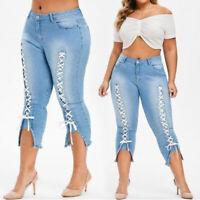 New Plus Size Women's Lace Up Jeans High Wasited Denim Blue Pants Capri Trousers