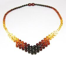 Luxury Baltic amber necklace, rainbow color round faceted beads 45 cm/17.72 inch